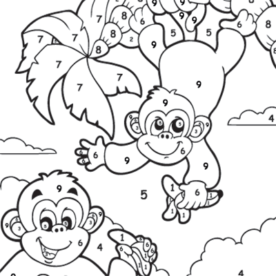 Kids Colour By Numbers #0049<p>Theme: Monkeys</p>