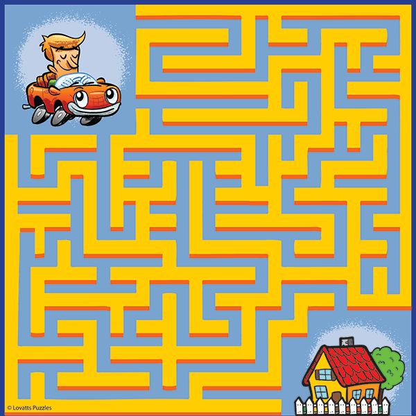 Maze for Children #0088<p>Theme: Driver & House</p>